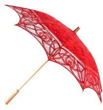 Red Parasole-Accessorio da sposa pizzo Sole Ombrello-Vacanza/Luna di Miele Nuovo