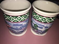 Two Matching Bathroom Class Cup/ Holder Tropical Sea Bathroom Cups