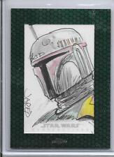 2015 Topps Chrome Star Wars - BOBA FETT - Autograph Sketch Card - JARED HICKMAN