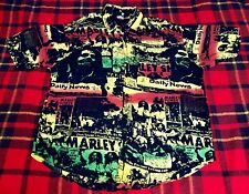 Vintage Bob Marley Roots Rasta Regae Original Button Front All Over Print Shirt