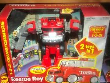 Tonka Red Fire Truck Rescue Roy 2000 Hasbro Transformer Electronic Lights Sound