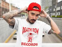Death Row Records Red Logo T Shirt Vintage Rap Tee Hip Hop 2Pac Dre Snoop White