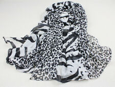 Pure Silk Women Sheer Scarf Soft Oversize Wraps Animal Print Leopard White Black