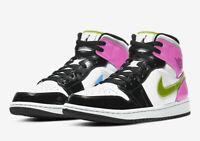 Nike Air Jordan 1 Mid SE Shoes White Black Cyber Pink CZ9834-100 Men's 13, NEW