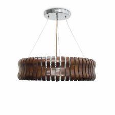 Pendelleuchte RINC Eiche groß satiniertes Glas Holz 5-flammig Wohnbereich braun