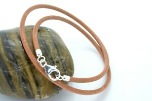 Mens Leather Bracelet Natural with 925 Sterling Silver Carabiner Clasp Handmade