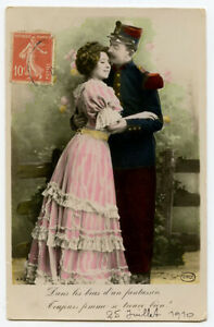 c 1910 Romance Romantic Couple SOLDIER and His SWEETHEART French photo postcard