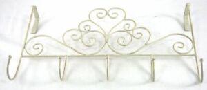 Shabby Chic Over the Door Hooks Hanger Ornamental Scrolled Design 5 Hooks Rack