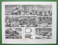 MINING Coke Production Kilns Ovens - 1870 Antique Print Engraving