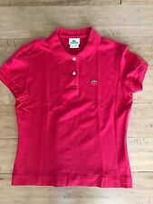 Lacoste Alligator Ladies Fitted Red Polo Shirt Size 44 (fits 4/6)