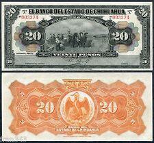 MEXICO BANCO ESTADO DE CHIHUAHUA 20 pesos 1913 Pick S134 SC  / UNC