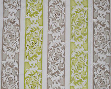 5 Mtrs Morris Floral Stripes Curtain Fabric £18.99/Meter - Lime | Cotton Print