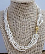 ESTATE GENUINE PEARL NECKLACE 14k SOLID GOLD CLASP 18in SIGNED DIL