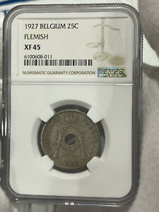 1927 BELGIUM 25 CENTIMES FLEMISH NGC XF 45 LOC3