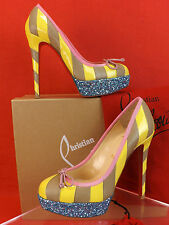 NIB LOUBOUTIN FORAINE 140 GLITTER PATENT LEATHER STRIPED PLATFORM PUMPS 35.5