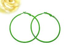 Trendy Thin Lime Green Round Hoop Earrings (Large 80mm/3.25in)