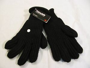 Ribbed Chunkey Knitted Thinsulate Gloves Black One Size
