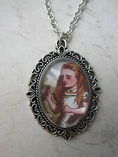 Silver Alice in Wonderland Cameo Necklace New in Gift Bag Stocking FIller