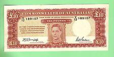 1943 ARMITAGE/McFARLANE 10 POUND NOTE V12 189107, LOVELY NOTE
