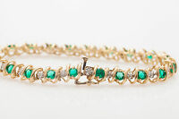 Vintage 4Ct Emerald & Diamond 14k Yellow Gold Over Silver S-LINK Tennis Bracelet