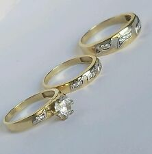 1.25 C 10k Yellow Gold 3 three piece trio Engagement Wedding Band Ring Set 7 9.5