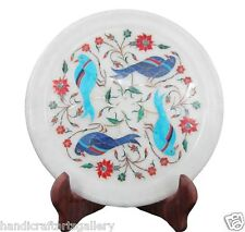 """7"""" Marble Dish Plate Lapis Turquoise Parrot Inlay Floral Counter Decorates H1430"""