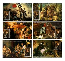 2010 EUGENE DELACROIX PAINTINGS ART 18 SOUVENIR SHEETS MNH UNPERFORATED