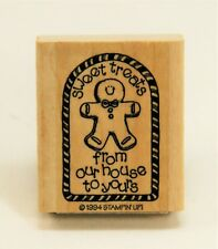Sweet Treats Wood Mounted Rubber Stamp, Gingerbread Man Holiday Gift, Stampin Up