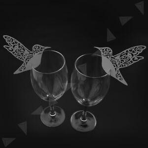 """50X Platzkarten """"Taube"""" ans Glas Tischkarte Hochzeit Deko Party Weiß Vögel"""