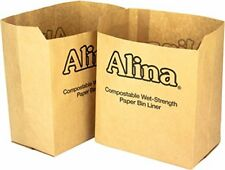 50 x Alina 6L to 8L Compostable Paper Caddy Bin Bag  Food Waste Bin Liner  Bio