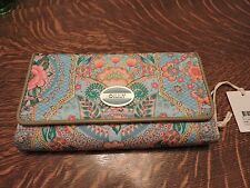 OILILY L WALLET TRAVEL TRIFOLD LAGOON PATTERN  BRAND NEW WITH TAGS RETAIL 75.00