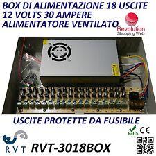 BOX CASSETTA DI ALIMENTATORE STABILIZZATO 18 USCITE  TELECAMERA CCTV 12V