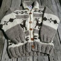 Canadia Sweater Company Laine Wool Knit Button Up Cowican Sweater Small