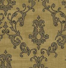 Wallpaper Designer Large Black Dot & Tan Damask on Tan Faux Linen