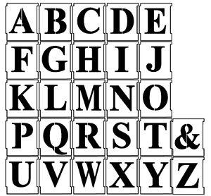 50mm ALPHABET STENCIL SET A to Z Upper case Letter templates Times New Roman