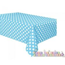 POWDER BLUE POLKA DOTS PLASTIC TABLE COVER ~ Baby Shower Party Supplies Cloth
