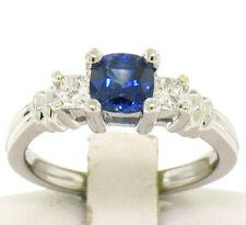PLATINO 3 Piedra Almohadón azul cobalto ZAFIRO Solitario & Princesa Diamantes