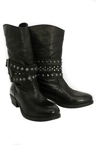 Pegia Black Leather Cowboy Boots With Wool Marked Lining