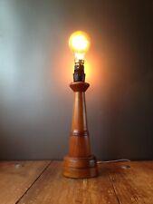 VINTAGE 60'S 70'S WOODEN TEAK LIGHTHOUSE DESK TABLE LAMP BASE MCM RETRO NAUTICAL
