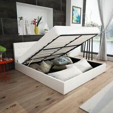 vidaXL Bed met Opslagruimte Hydraulisch 140 cm Kunstleer Wit Bedden Bedfram