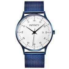 Infinity COM 06 Navy Blue Men's Minimalist Watch- Leather Strap - Slim Watch
