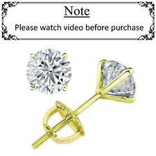 1.40 ct ROUND CUT diamond stud earrings 14k YELLOW GOLD 100% NATURAL K VS2-SI1