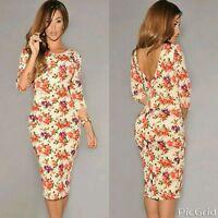 Women Ladies Cream Floral Print Half Sleeve Midi Dress Bodycon Celeb Towie 10 12