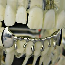 Fang Drip Grillz Bottom Teeth Silver Tone Vampire Fangs Hip Hop Dripping Grills