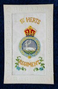 WW1 1914-18: World War 1 Embroidered Silk Postcard: 1st Hertfordshire Regiment