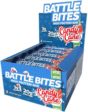 Battle Bites High Protein Bar, 12 x 62 g - Low Carb Protein Bars - Candy Cane
