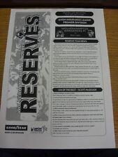 13/11/2000 Wolverhampton Wanderers Reserves v Port Vale Reserves  (Single Sheet)