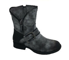 Ladies Boots No Shoes Rugged Grey/Black Distressed Grunge Ankle Boot Size 6-11
