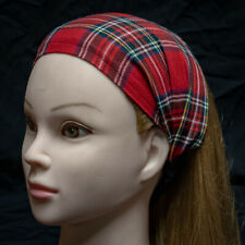 Wide Red Tartan Hair Band Head Turban Bandana Ladies Fashion hogmanay