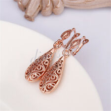 18k Rose Gold Filled See-Through Filigree TearDrop Shaped DANGLE Earrings E026